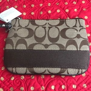 NWT COACH Signature Stripe Small Brown Wristlet